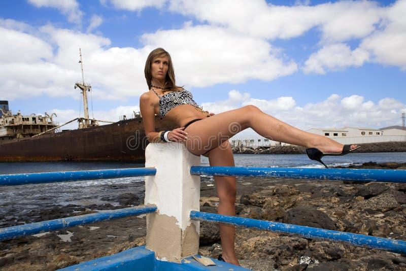 Vrouw op het overzees stock fotografie