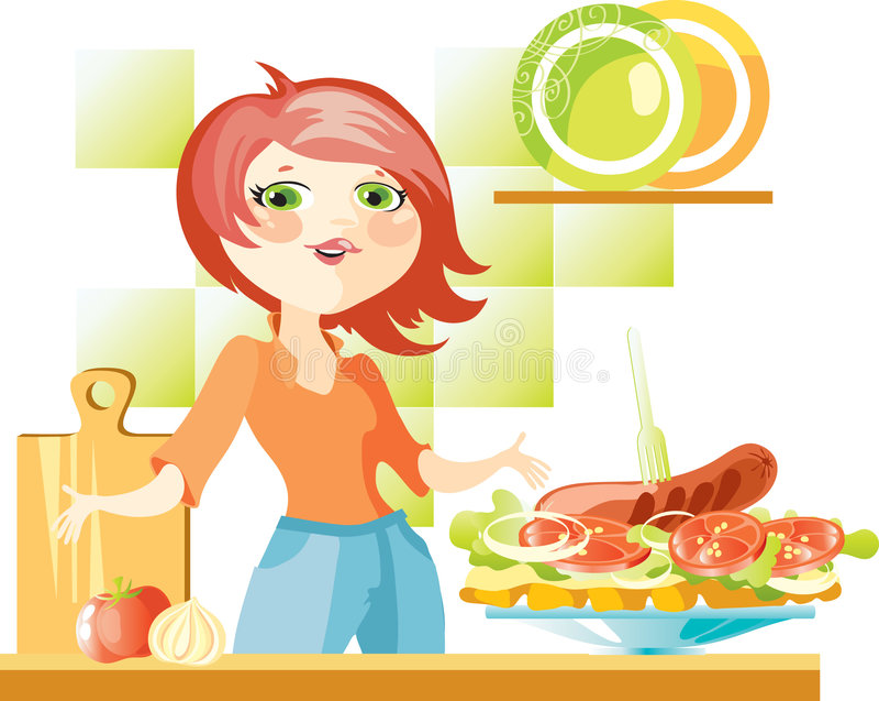 Vrouw op keuken royalty-vrije illustratie
