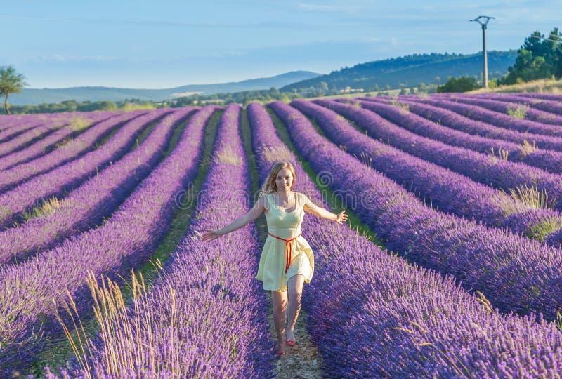 Vrouw op lavendelgebied stock fotografie