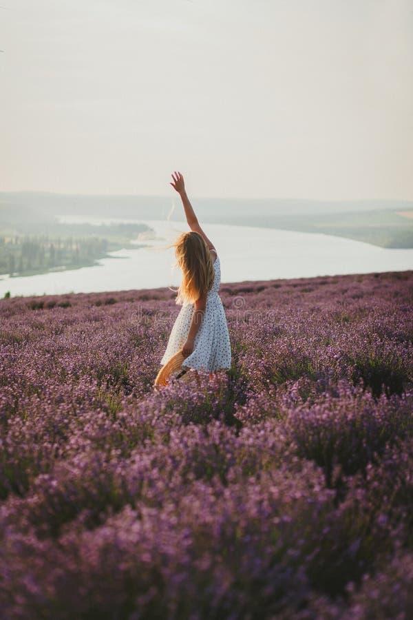 Vrouw op lavendelgebied in de zomertijd royalty-vrije stock afbeeldingen