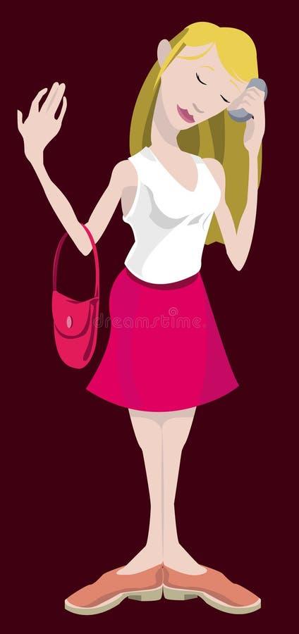 Vrouw op mobiele telefoon vector illustratie