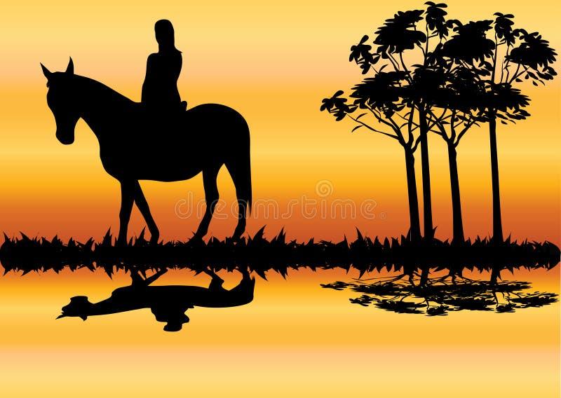 Vrouw op paard stock illustratie