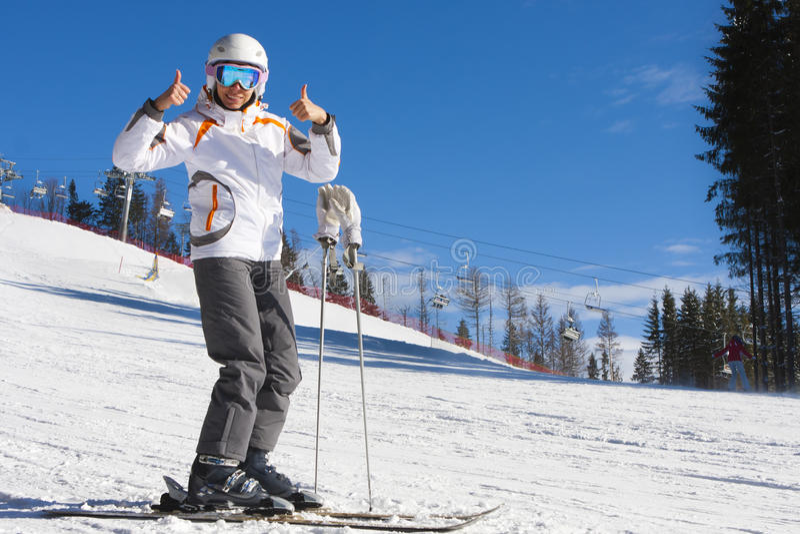 Vrouw op skivakantie royalty-vrije stock afbeelding