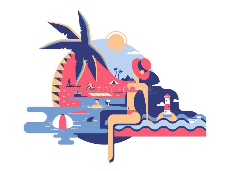 Vrouw op strand vlak ontwerp stock illustratie
