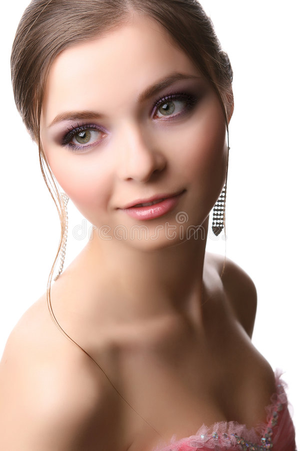 Vrouw op wit royalty-vrije stock afbeelding