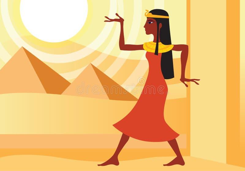 Vrouw in oude Egyptische kleding stock illustratie