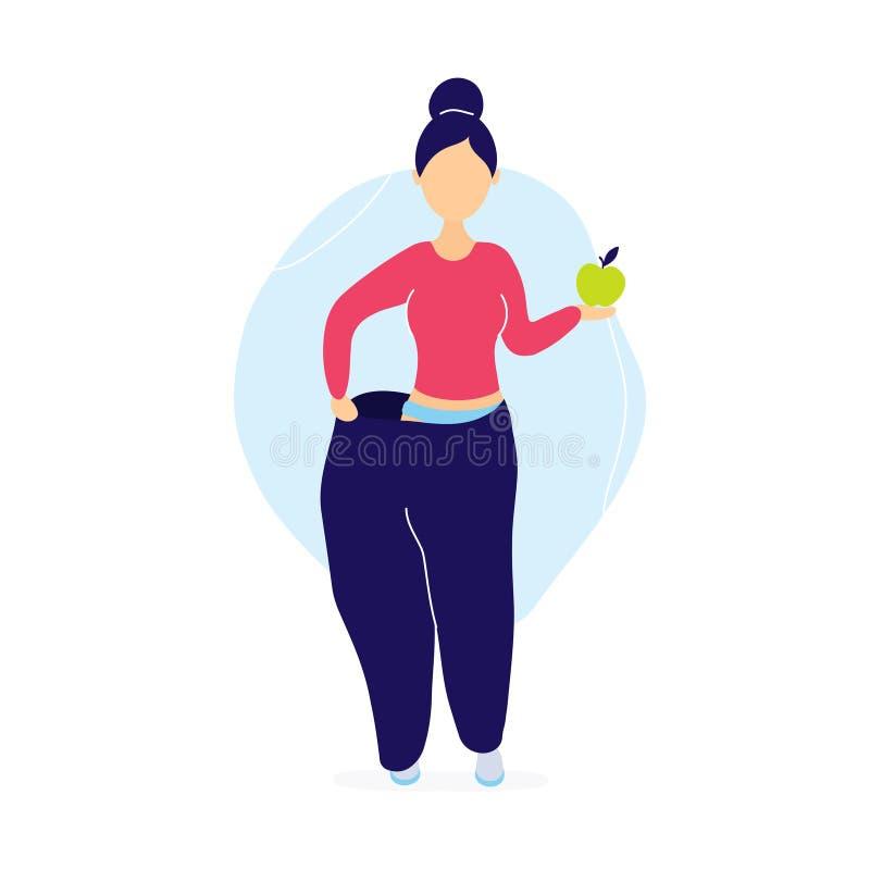 Vrouw in overmaatse broek met appel vector illustratie