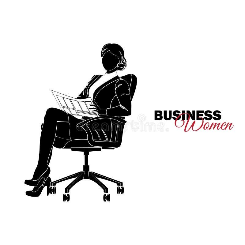 Vrouw in Pak De onderneemster zit als voorzitter en leest een krant vector illustratie
