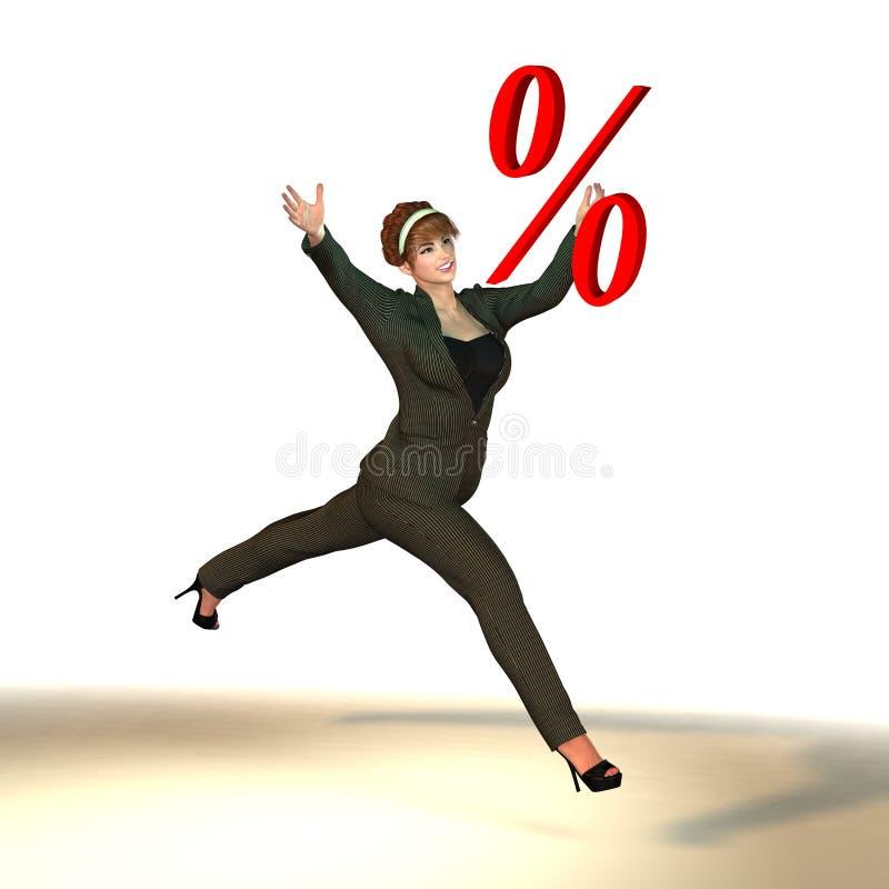Vrouw in pak die percentageteken vangen royalty-vrije illustratie