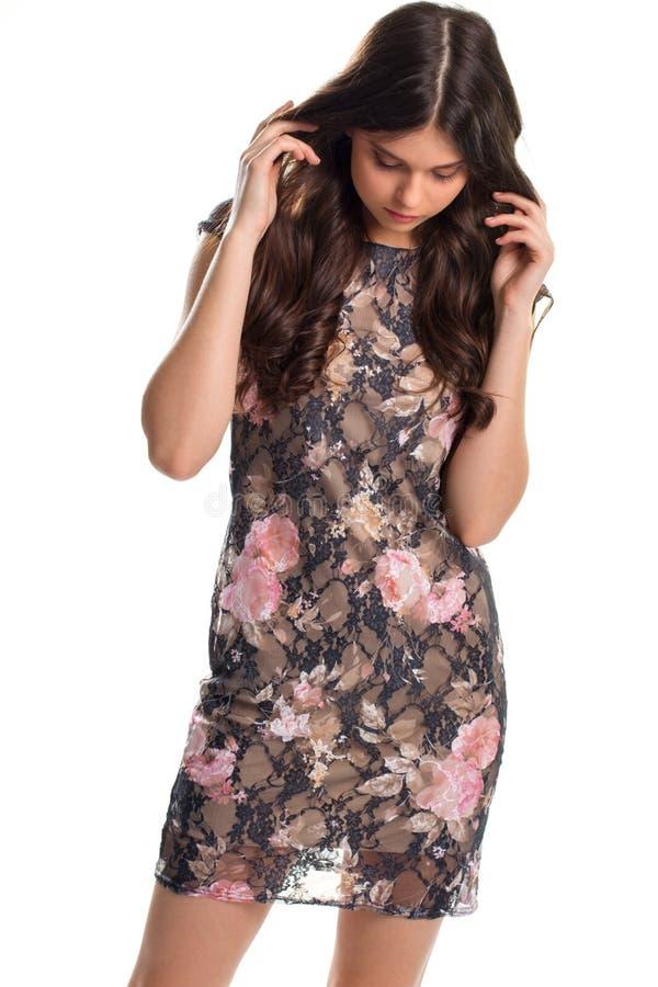 Vrouw in plotseling donkere kleding stock afbeeldingen