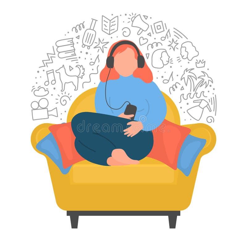 Vrouw podcasts, onlinetrainingen, muziek, of online radio die listenning royalty-vrije illustratie