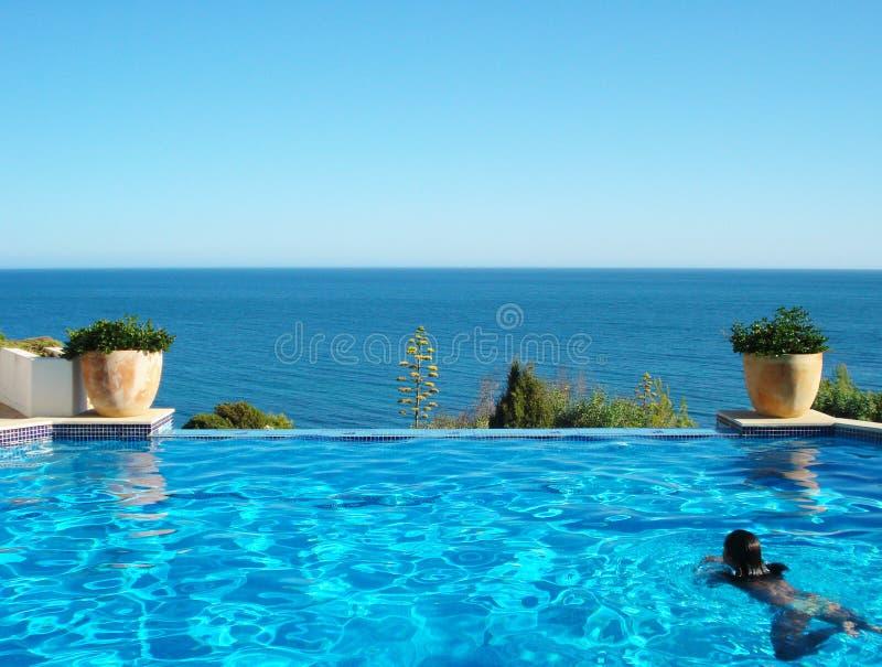 Vrouw in Pool stock afbeelding