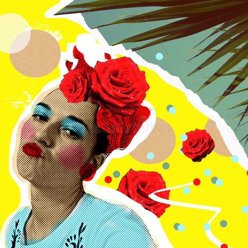 Vrouw in pop-artstijl en tropische palmbladen In zinecollage, manierdruk, affiche royalty-vrije stock afbeelding