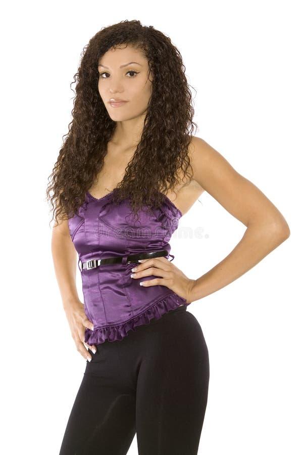 Download Vrouw in purple stock afbeelding. Afbeelding bestaande uit close - 10781639