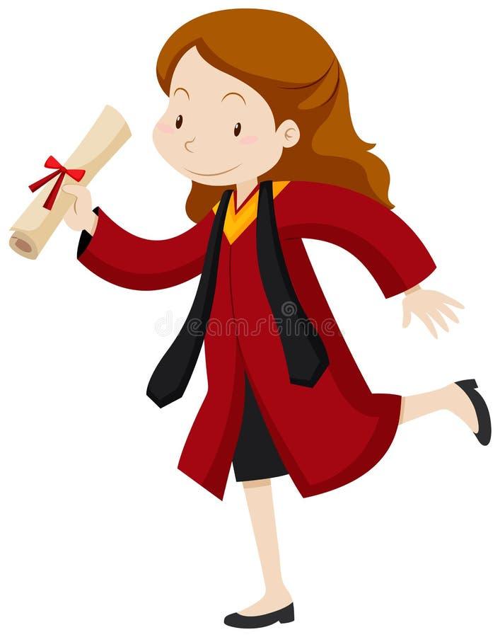Vrouw in rode graduatietoga royalty-vrije illustratie