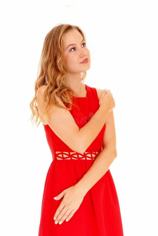 Vrouw in rode kleding royalty-vrije stock afbeelding