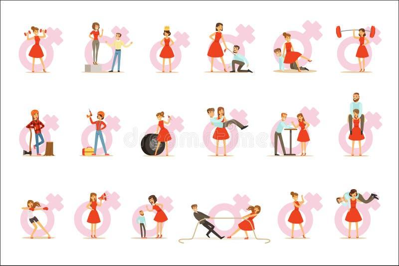 Vrouw in Rode Kleding die Traditionele Mannelijke Rollen overnemen en Plaatsen met de Mens ruilen, Reeks van Feminismeillustratie vector illustratie