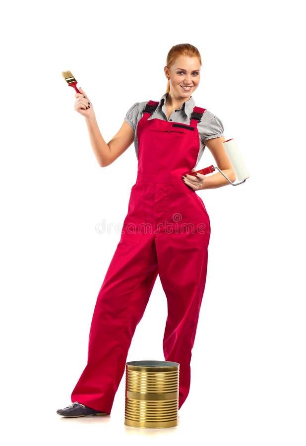 Verbazingwekkend Jonge Vrouw In Rode Overall Met Rode Verf Stock Foto - Afbeelding KP-94