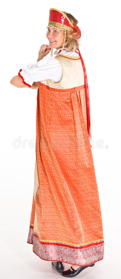 Vrouw in Russisch kostuum royalty-vrije stock foto's