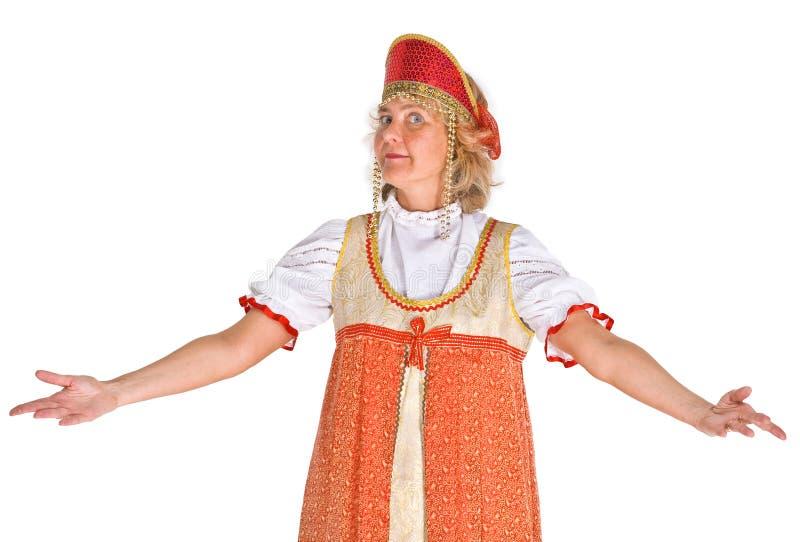 Vrouw in Russisch Kostuum royalty-vrije stock afbeeldingen