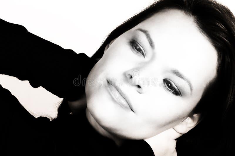 Vrouw? s gezichtsclose-up stock fotografie