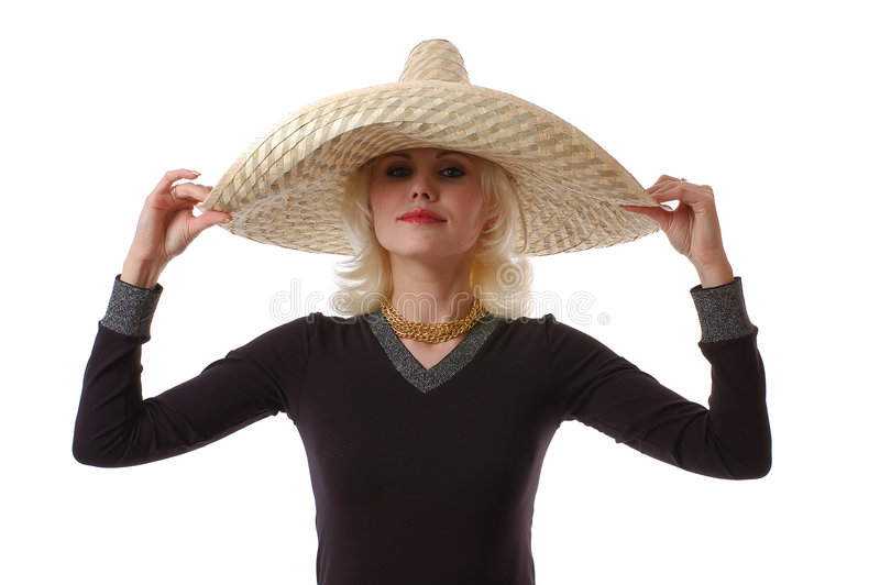 Vrouw in sombrero stock foto's