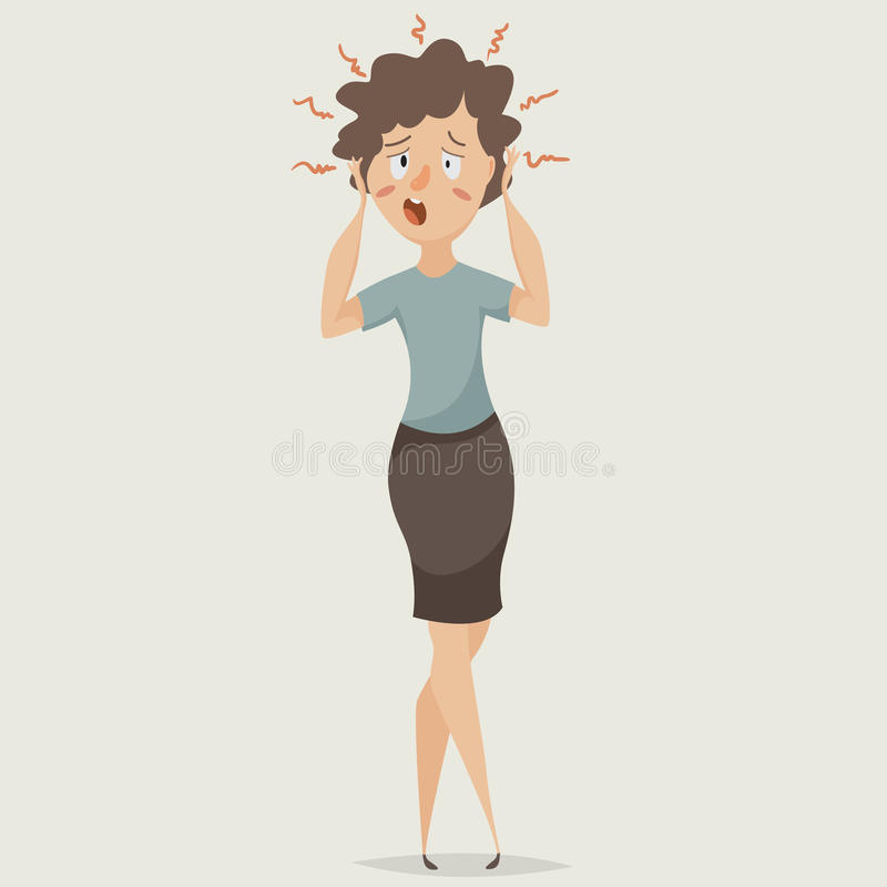 Vrouw in spanning Depressie en het lijden van aan emoties Het karakter van het beeldverhaal stock illustratie