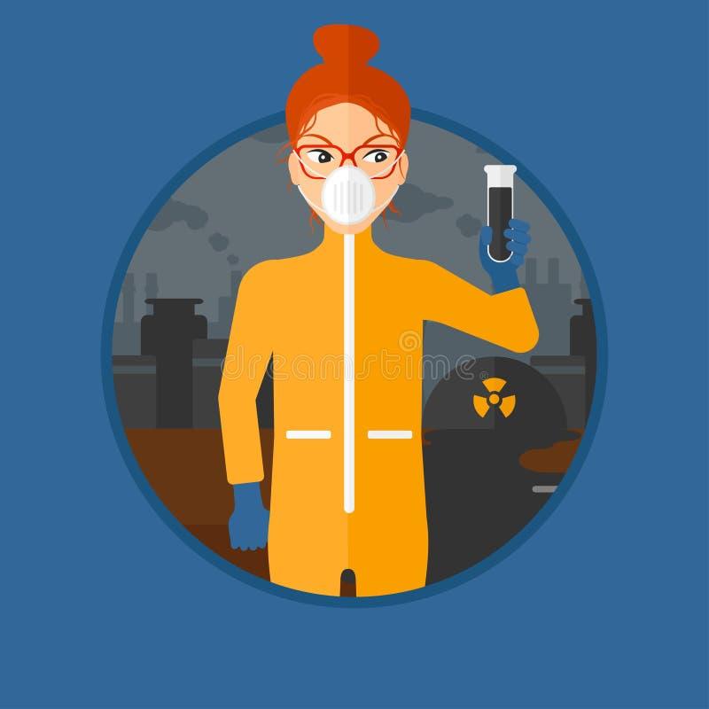 Vrouw in stralings beschermend kostuum met reageerbuis royalty-vrije illustratie