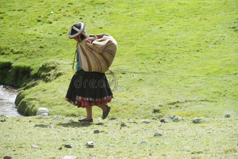 Vrouw in traditionele Peruviaanse kleren stock foto's