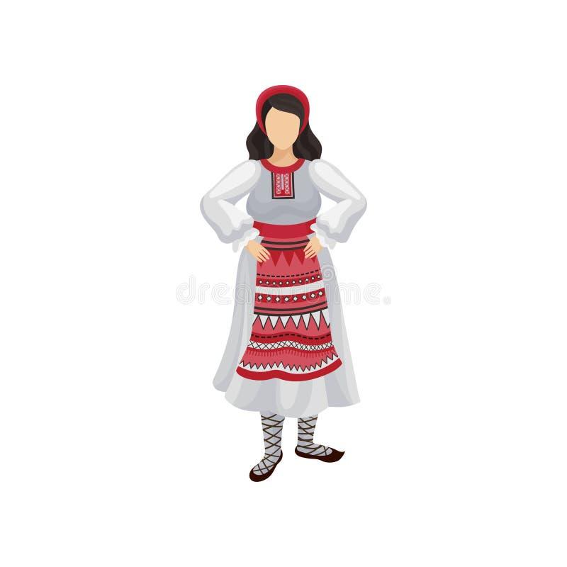 Vrouw in traditionele Roemeense kledings lange witte kleding met ornament, rode headwear en bastschoenen Volkskostuum vlak stock illustratie