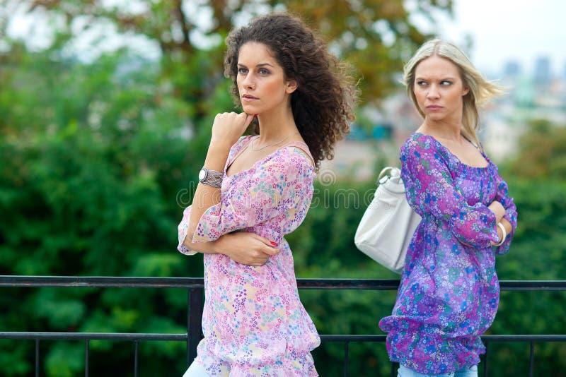 Vrouw twee boos aan elkaar stock afbeeldingen
