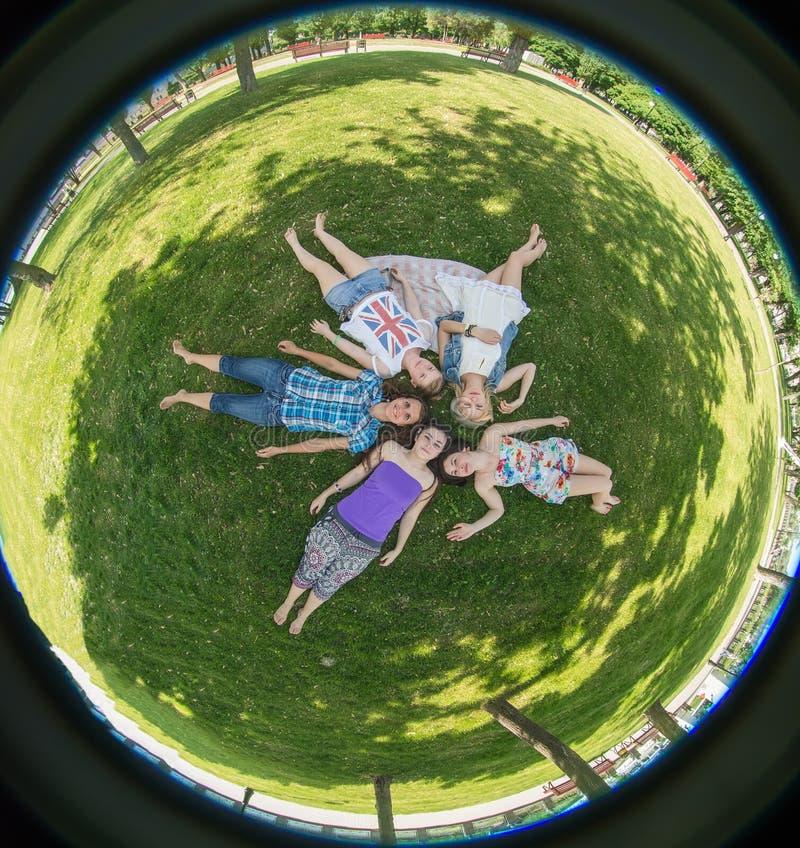 Vrouw van de geluk de jonge schoonheid bij een picknick royalty-vrije stock foto's