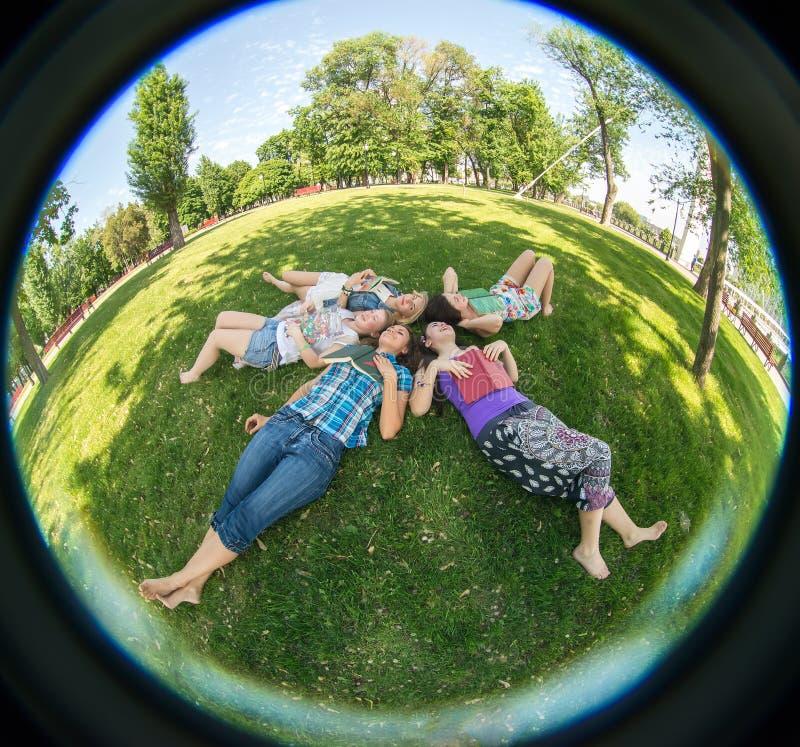 Vrouw van de geluk de jonge schoonheid bij een picknick royalty-vrije stock afbeeldingen