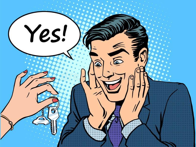 Vrouw van de gift geeft de nieuwe machine de man een auto vector illustratie