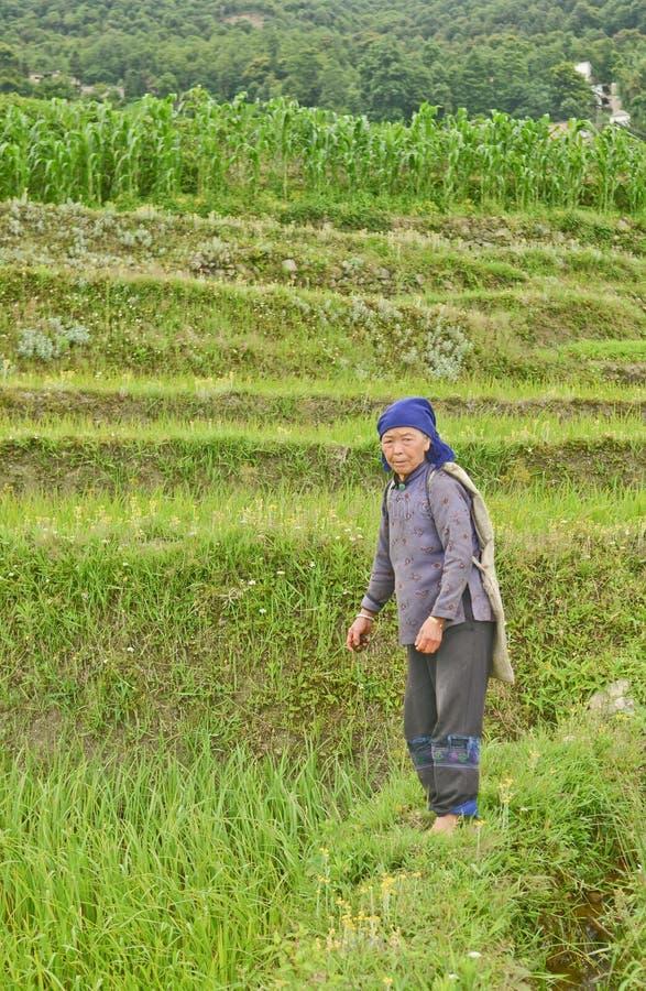 Vrouw van het minderheids de Chinese dorp stock afbeeldingen