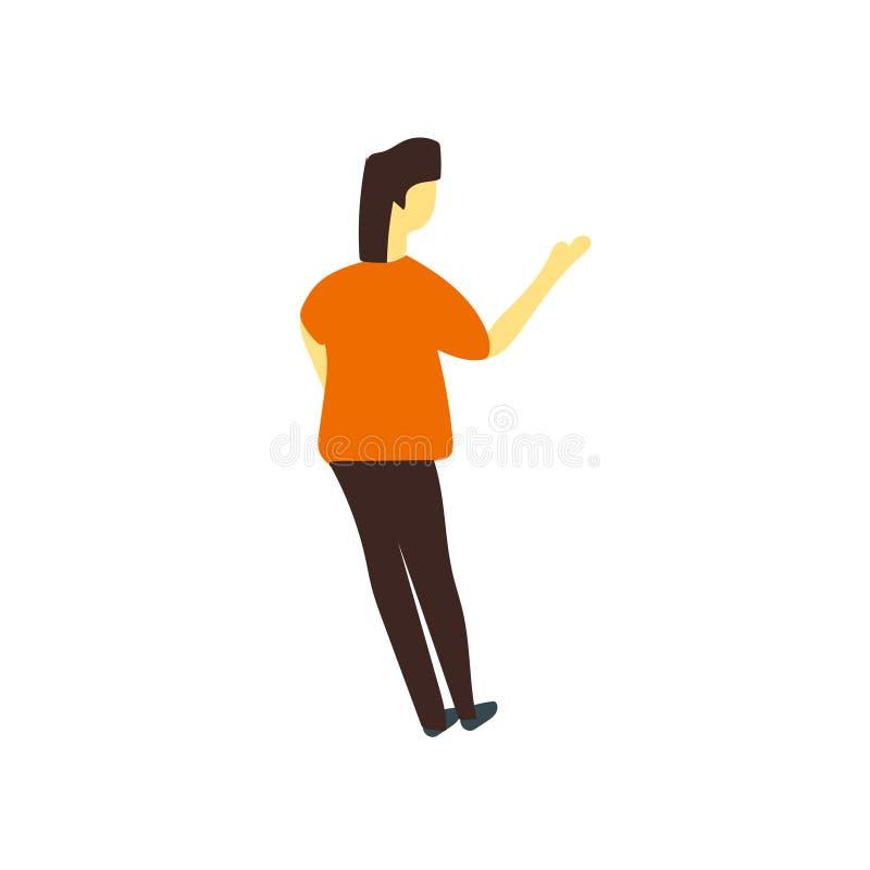 Vrouw vector vectordieteken bevinden zich en symbool die op witte achtergrond, Vrouw wordt die vectorembleemconcept bevinden geïs stock illustratie