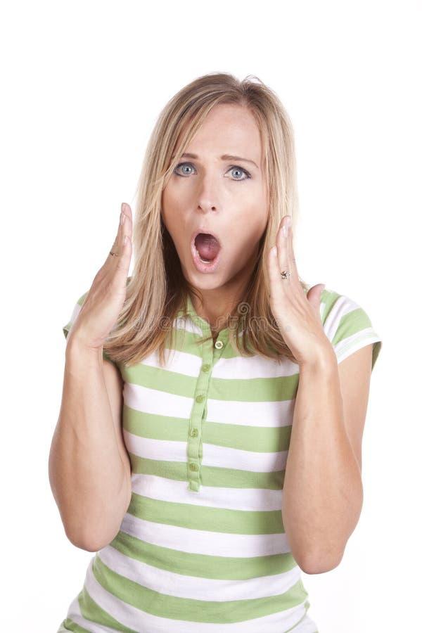 Vrouw in verraste groen en wit stock afbeeldingen