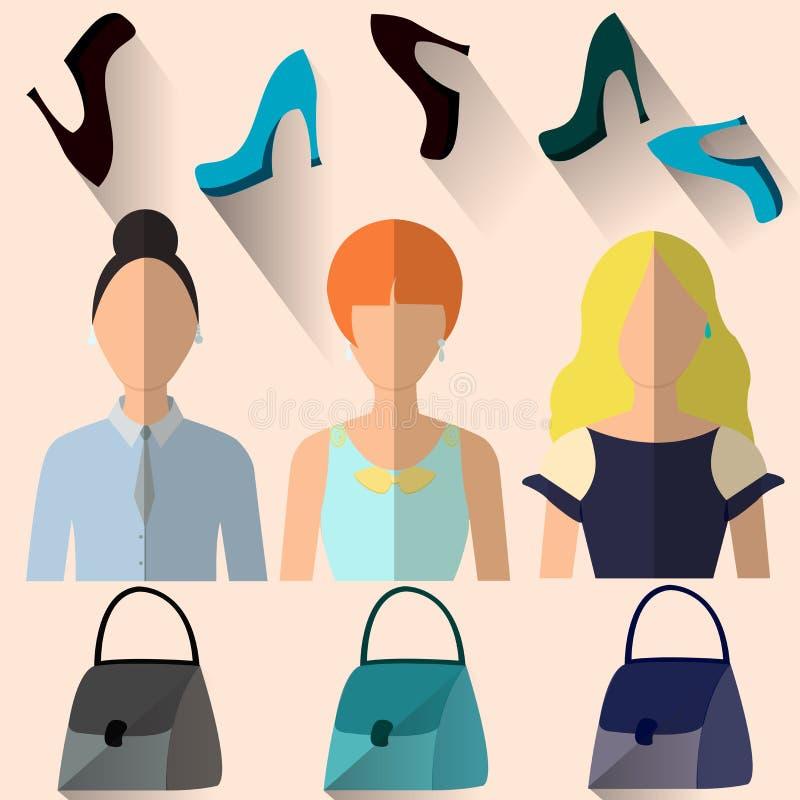 Vrouw in verschillende kleren royalty-vrije illustratie