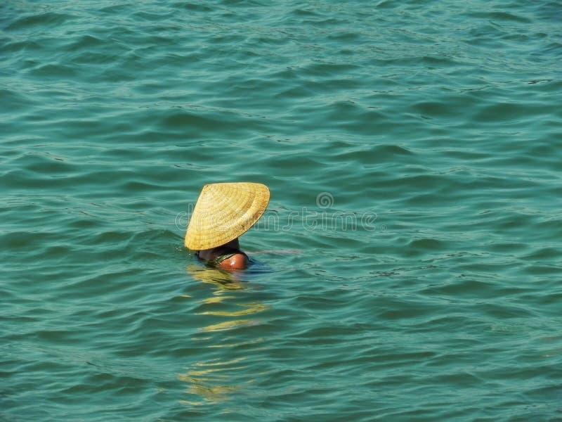 Vrouw in Vietnamese hoed stock fotografie