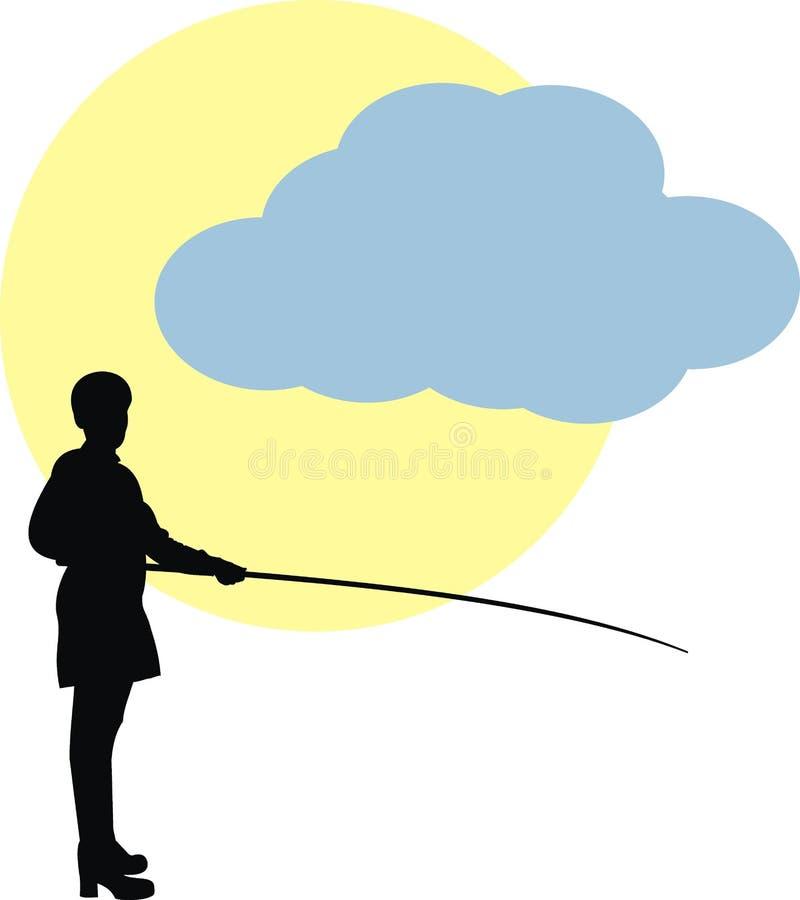 Vrouw in visserij. Zon en wolk.