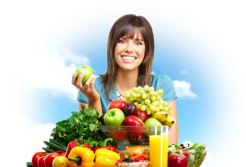 Vrouw, vruchten, aard royalty-vrije stock foto
