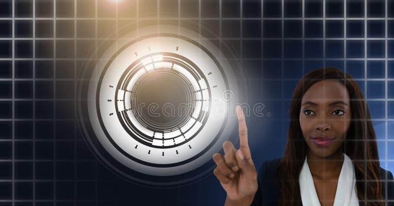 Vrouw wat betreft cirkelinterface stock foto's