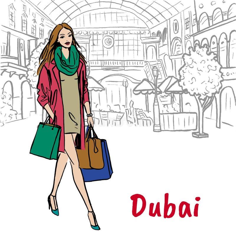 Vrouw in winkelcomplex in Doubai royalty-vrije illustratie
