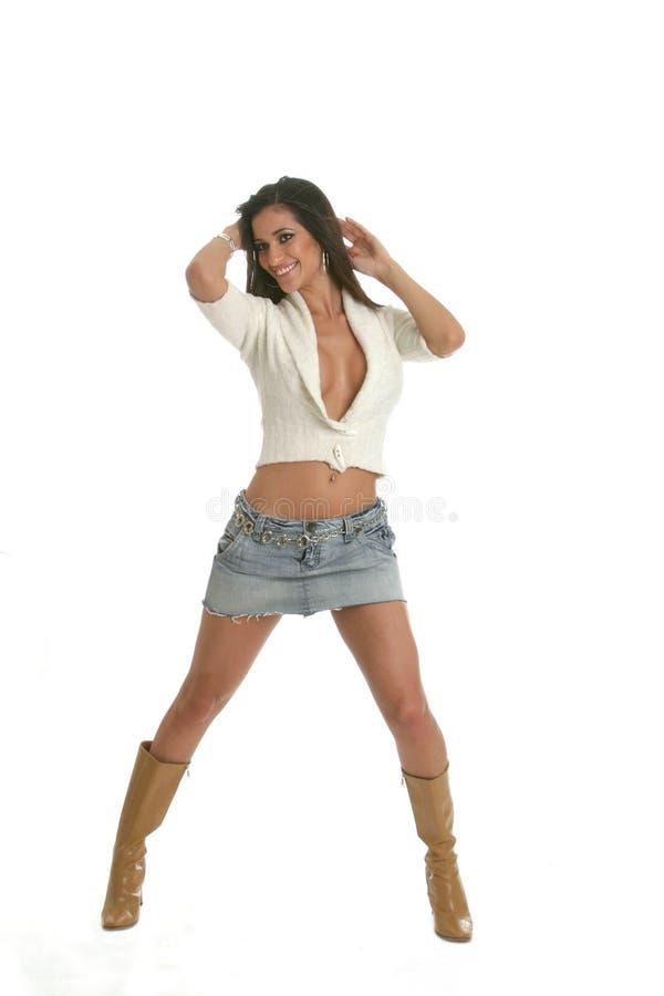 Vrouw in Witte Sweater stock afbeeldingen