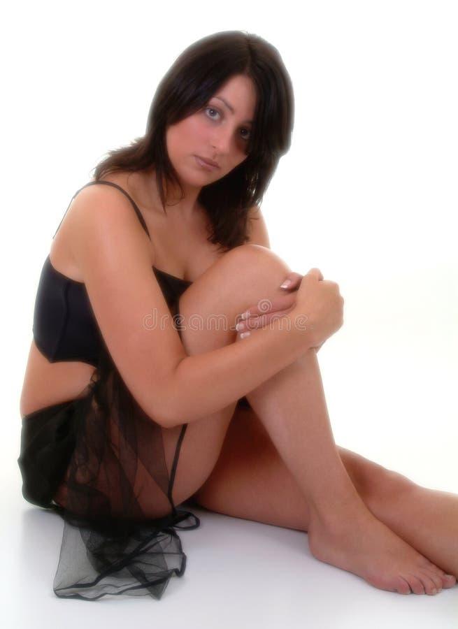 Vrouw In Zwart Lijfje & Netto Rok Stock Foto