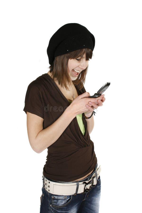 Vrouw in zwarte baret stock fotografie