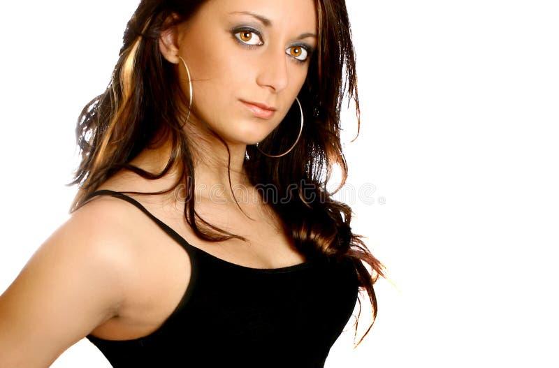 Vrouw in zwarte kleding royalty-vrije stock foto