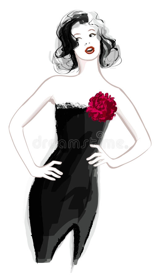 Vrouw in zwarte kleding royalty-vrije illustratie