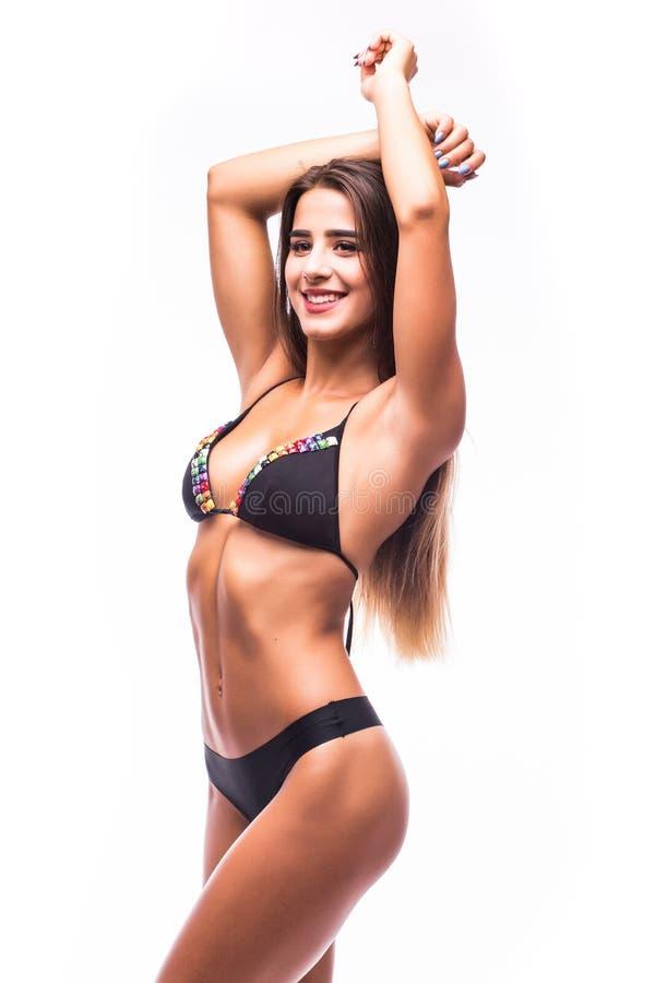 Vrouw in zwempak met perfecte abs royalty-vrije stock foto's
