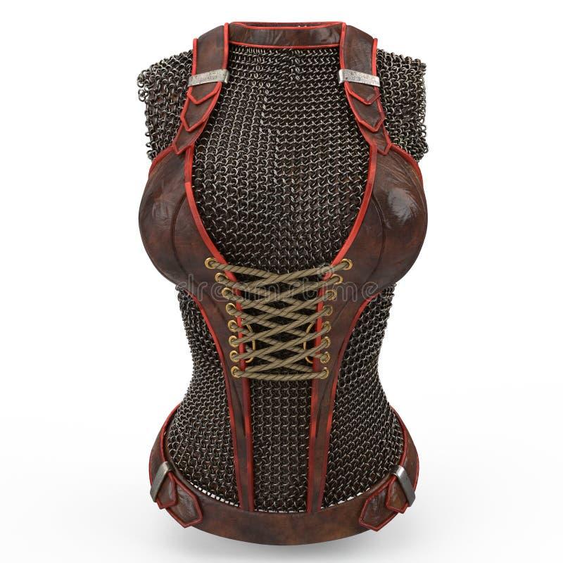 Vrouwelijk die kettingspantser van metaal op geïsoleerde witte achtergrond wordt gemaakt 3D Illustratie vector illustratie